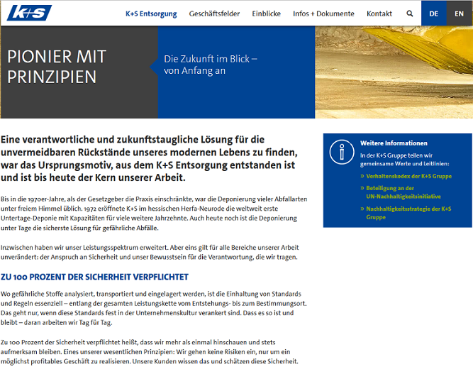 K+S Entsorgung GmbH Website Mailing Print Training